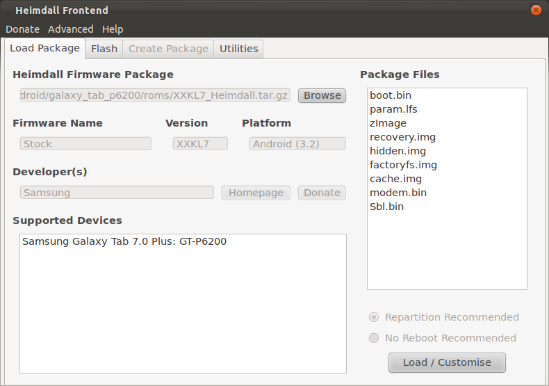 Loading a firmware package into Heimdall