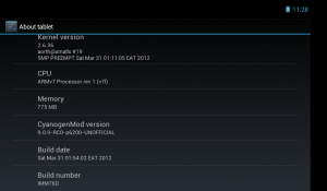 Alpha CM9 running on Galaxy Tab 7 Plus