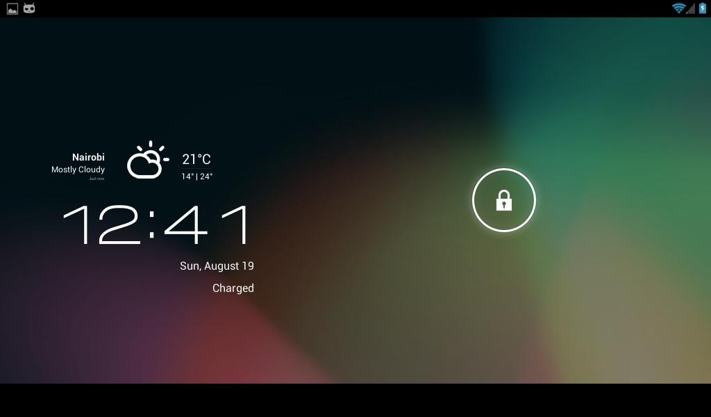 Jellybean lockscreen with CM weather