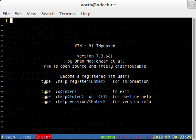 My tmux config in gnome-terminal