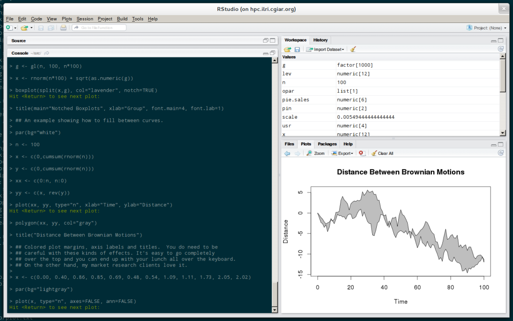 RStudio with a plot