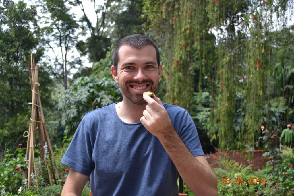 Alan eating halloumi
