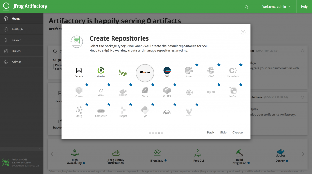 Screenshot of Repository Setup in JFrog Artifactory 5 Web Application