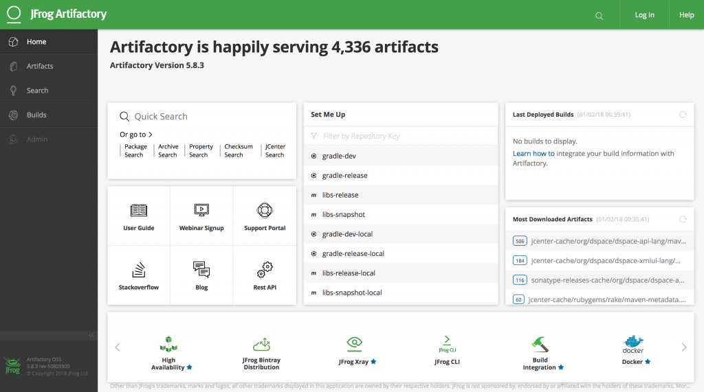 Screenshot of JFrog Artifactory 5 Web Application Showing 4,336 Cached Artifacts