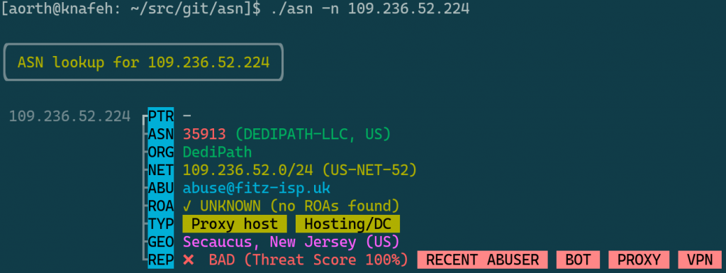 Multi-colored text indicating the status of an IP address on a computer console